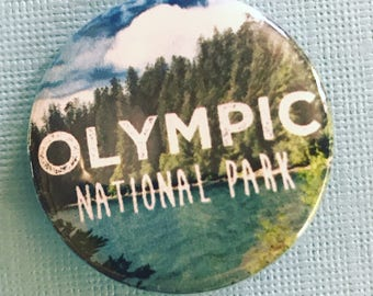 Olympic National Park Pinback Button, National Parks Magnets, Backpack Pin, Nature Buttons, Hippie Pins, Camping, Hiking, Pacific Northwest