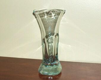 p7515:  T. Kreager Tom 1982 Scarce Signed Hand Blown Vintage Art Glass Vase Vintageway Furniture