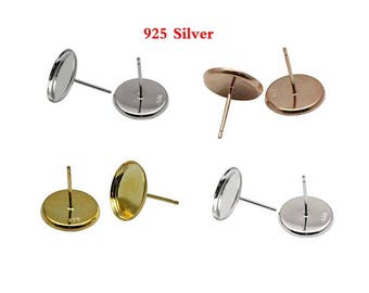 10pcs 925 Silver Earring Studs Posts With Round Pad-- Silve / White Gold  / Gold / Rose Gold 925 Silver Earring Studs