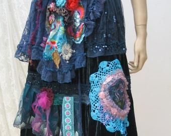 silk velvet boho skirt, gypsy skirt, reworked silk skirt, retro bohemian skirt, upcycled, art to wear, altered couture, vintage skirt,