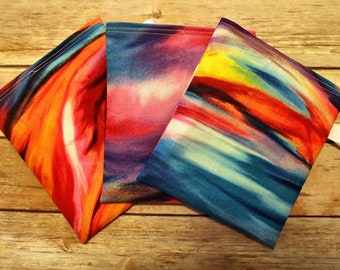 Reusable Snack Bag - Set of 3 - BPA Free - Lunch Bag - Snack Bag Set - Water Color Print