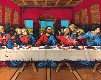 Vintage, Decorative Rug, Last Supper, Michealabgelo, 1970s, Christ, Christian, Tapestry ~ 170320A