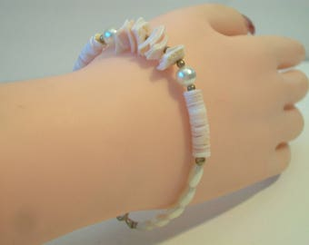 Vintage Pink Shell Pearl Bracelet Beachy Retro Boho Hippie Jewelry Earthy Fashion Accessories For Her