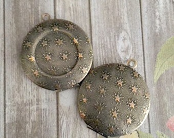 30mm Antiqued Brass Lockets, Star Pattern, Star Lockets,18mm Bezel Lockets, Brass Lockets, Made in the US, Lockets, DIY Lockets