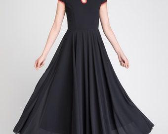 black chiffon dress, maxi dress, summer dress, elegant dress, womens dresses, cap sleeves dress, fit and flare dress, retro dress 1894
