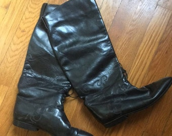 Vintage 1990 Charles David Leather Riding Boots Size 9 Women