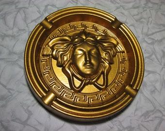 Medusa gold head men ashtray Gorgon madusa logo wooden roundel mask gargon collectible deco ash tray tables wood hand craft