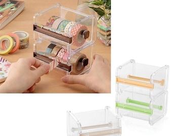 Washi Tape Dispenser, Washi Tape Case, Washi Tape Holder, Washi Tape Display, Clear Stackable Washi Tape Dispenser in Clear and Cream, Green