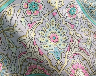 Paisley Silk Scarf by Oscar de la Renta Pastels Blue Pink Green Gold Metallic Accents Vintage Scarves