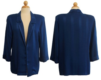Vintage vtg 1970's collared stripe california blue woven business casual jacket cardigan blouse top by Melrose