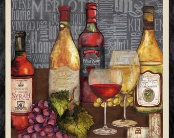"""Vintage by Henry Glass - Wine Panel - 24"""" Cotton Woven Fabric Panel"""