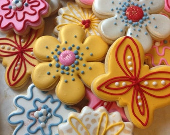 Spring Flower Decorated Sugar Cookies-1 dozen