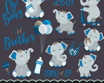 Cute elephant, baby shower clipart, lettering it's a boy, little brother, illustration, planner stickers, scrapbooking, chore charts, art
