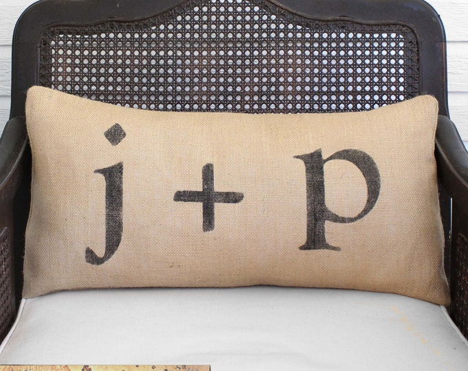 Love Letters - Burlap Pillow -  Feedsack Style - Personalize with you and your sweetie's initial - Custom Monogram Pillow