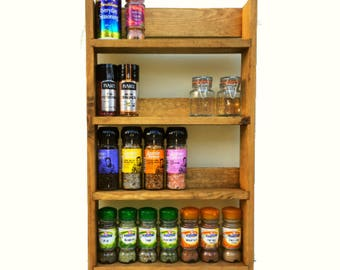 Reclaimed Rustic Spice Rack 4 Shelves 56cm Tall Open Top Light Oak Finish, Choice of Widths