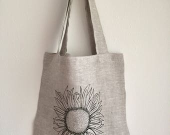 Tote Bag Market Bag with Sunflower - Choose your fabric and ink color