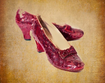 Ruby Slippers on Gold Original Film Prop Wizard of Oz Fine Art Photograph Square 8 x 8