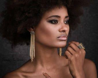 Tassel Earrings For Women, Statement Earrings, Bohemian Earrings, Chain Tassel Earring, Long Earrings, Boho Style, Gift For Her