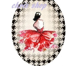 cabochon 18x25mm, high fashion, red dress