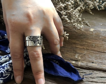 map ring, map jewelry, world map ring, globe ring, vintage ring, earth ring, traveler ring, silver ring, biker ring, double ring, two rings