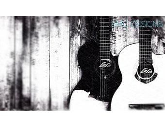 Guitar Art, Guitar Photography, Guitar Sketch, Guitar Sketch Art, Black and White Guitar, Vintage Guitar, Vintage Guitar Art, Band Art