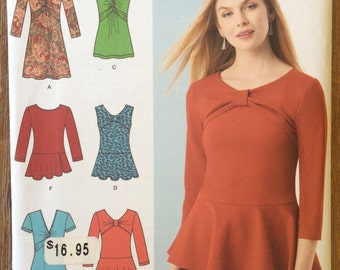 UNCUT Misses' Top, Shirt Blouse Simplicity 1539 Size 4-6-8-10-12-14-16-18-20-22 Easy to Sew, Tank Top, Loose Fitting, Peplum, Tunic