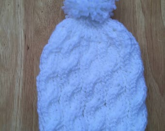 Pom Pom Hand Knit hat with Cable stitch