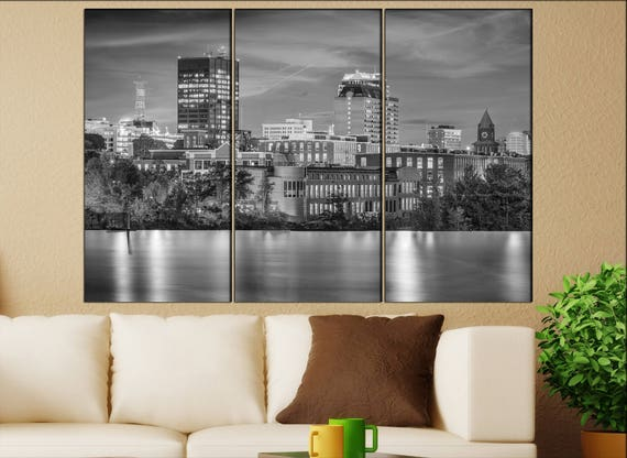 Manchester, New Hampshire skyline canvas  Manchester canvas art Manchester wall decoration Manchester large canvas
