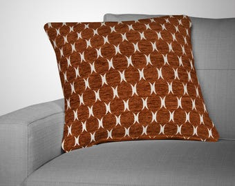 Velvet Pillow Cover - Designer Pillow Cover- Burnt Orange Pillow - Orange and White Pillow Cover -Robert Allen Plush Form - Zippered Pillow
