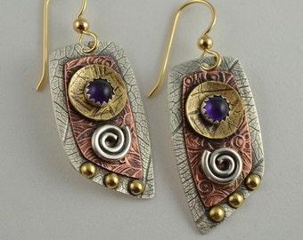 Metalsmith Earrings - Mixed Metal Earrings - Amethyst Earrings - Copper Jewelry