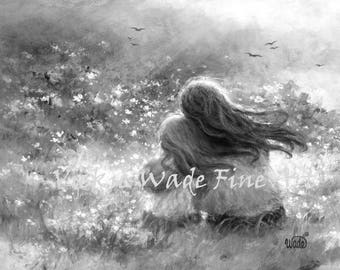 Mother Daughter Art Print, garden mother, black and white loving mother blonde daughter, mom paintings, girls room, Vickie Wade art