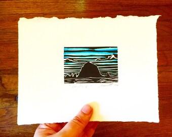 Haystack Rock Oregon - Original Color Linocut Print 5x7