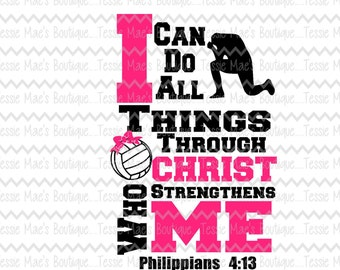 I can do all things through Christ Volleyball, SVG, DXF, EPS, Instant Download, Digital Design, Volleyball, Sport, Volleyball Bow