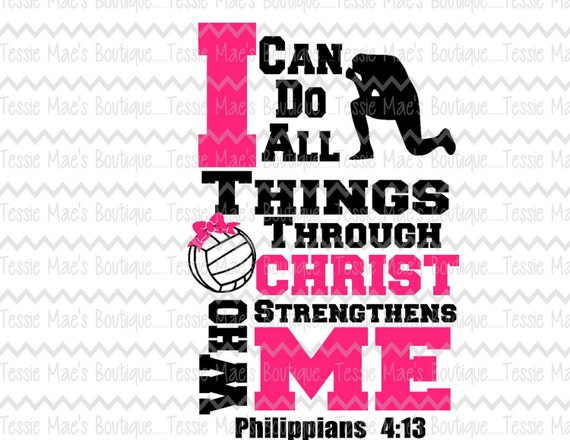 i can do all things through christ volleyball svg dxf eps