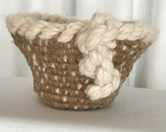 Soft wool basket bound with jute