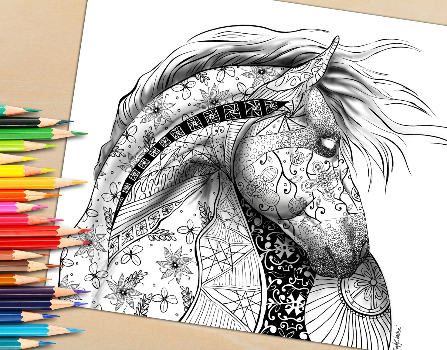 Adult Coloring Page from Coloring Book For Adults Horse