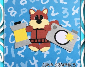PRE SCHOOL CAMERA Fox Embellishments Paper Piecing card making and scrapbooking