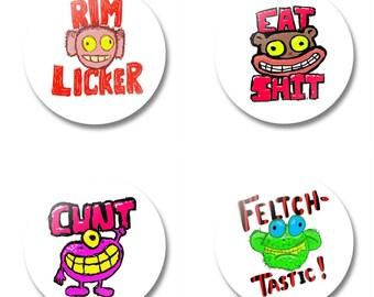 """Set of four 1.5"""" vulgar buttons"""