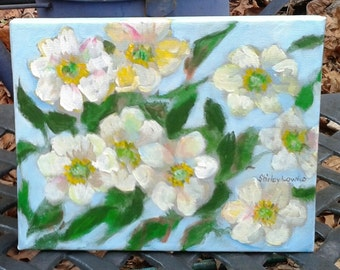Cherokee Rose original painting, white rose painting, 8x10 floral, impressionistic white floral art, Shirley Lowe, Georgia state flower