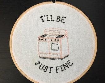 I'll be just fine - Motion City Soundtrack lyric framed embroidered wall art