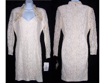 White Lace & Sequin Dress Women's Size 12 Susan Roselli Vijack Lew Magram NOS Vintage 80's Retro Pearl Iridescent Ruffles Dress