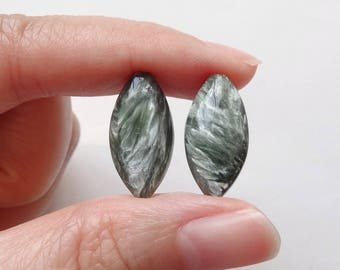 Seraphinite Half Top drilled Marquise Drops 10x20x6/7 mm mm One Pair G7260