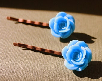 Blue Flower Bobby Pins - Acrylic Floral Cabochon Hair Pins