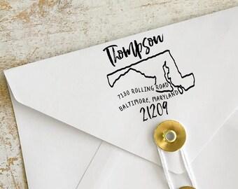 Custom Maryland Address Stamp, Personalized Maryland Return Address Stamp, State Stamps, Maryland Stamps
