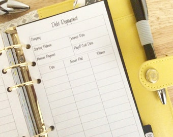 Debt Repayment Plan Personal Size Printed Planner Inserts