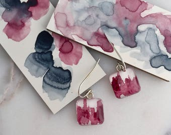 Perylene Violet Square - Sterling Silver Watercolor Earrings