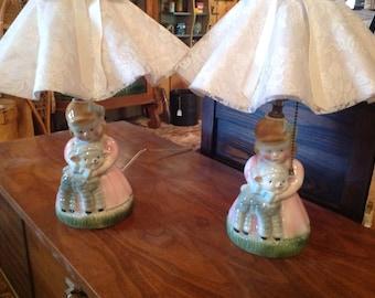 A set of Little Bo Peep lamps