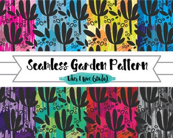 6 Garden Floral Repeat Pattern Wallpaper/Digital Paper/Digital Scrapbook/Seamless pattern