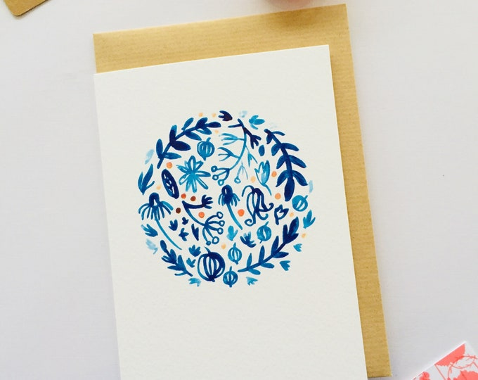 Blue wreath greeting card . Cards . Watercolour . Modern stationery