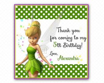 "Custom PrintableTinkerbell 2.5"" Tags-Thank you Printable Square Tags- Personalized Fairy Tags, DIY (You Print) 2.5"" tags-Digital file"